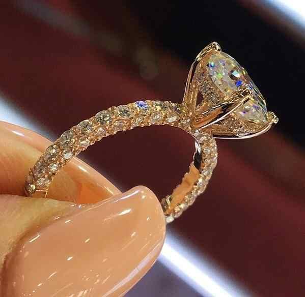 ホット販売女性クリアジルコン象眼細工の結婚ブライダル婚約パーティージュエリーリング女性リング
