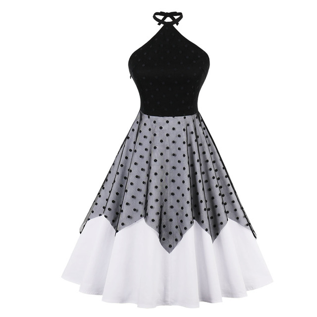 Women Vintage Dress Polka Dot Print Patchwork Mesh Sleeveless Halter Summer  Dress 2018 New Fashion Rockabilly