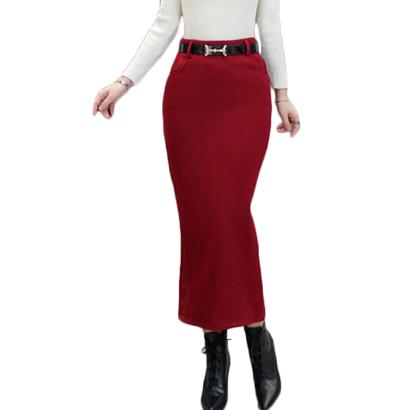 Luxury Lover Women Long Pencil Skirt Black High Waist Bodycon Office Skirts