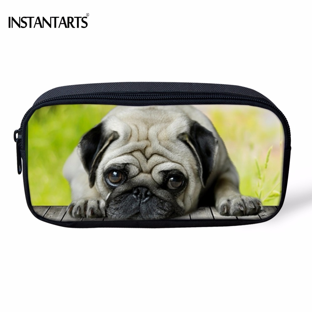 INSTANTARTS Funny 3D Pug Dog/ French Bulldog Printing Women Cosmetic Cases Children Boys Girls Pencil Case Travel Make Up Bags