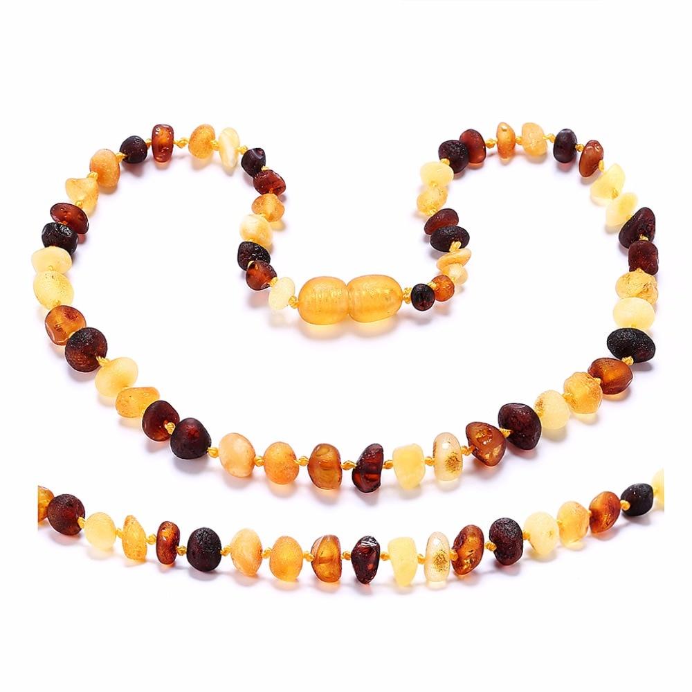 RawBaltic Amber Teething ogrlica za bebe (Multicolor Raw - - Fine nakit - Foto 2