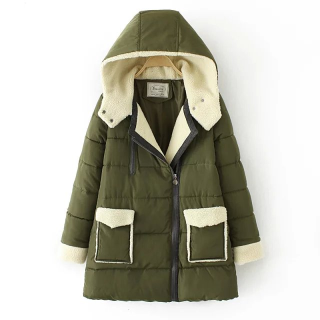 ФОТО 2015 winter thick cashmere hooded padded jacket down cotton loose women long jacket coat big turn down collar army green gray
