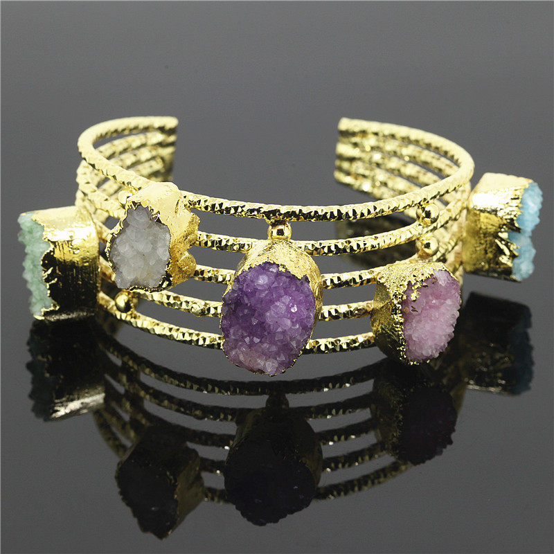 Fashion Stone Cuff Bangles Colorful Quartz Druzy Stone Opening Cuff Bangle Bracelet Women Jewelry Statement