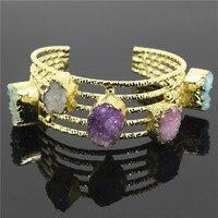 Moda Pedra Cuff Pulseiras Coloridas Quartz Druzy Pedra Abertura Cuff Bangle Bracelet Mulheres Jóias Declaração