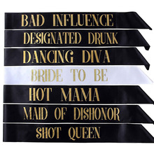 7Pcs/Set Bride to Be Sashes for weddiing Gifts Bachelorette Single party shoulder strap Decorations Short Queen Hot Mama