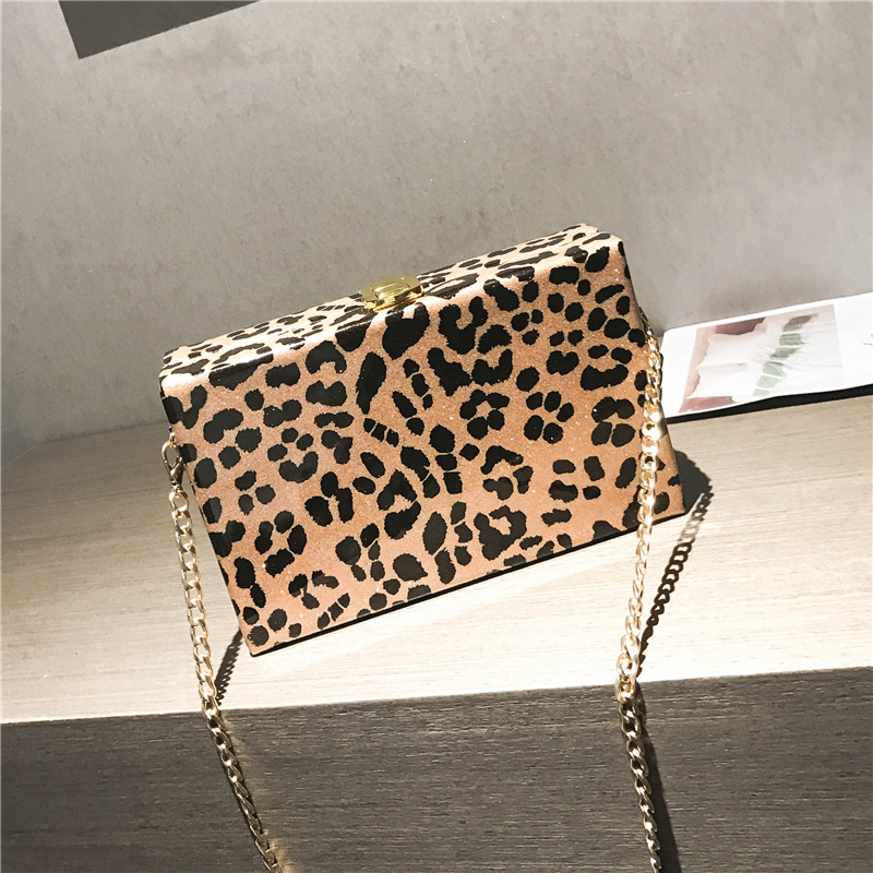 Stylish handbags women bags Leopard Print Small Square Package Chain Single Shoulder Crossbody Bag Purses and Handbags chain houndstooth print crossbody bag