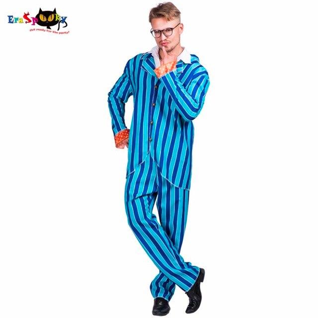 94f3f8f3c8e6e Moda Austin Powers garnitur 80 lat 70 Party Cosplay mężczyźni Blazer garnitur  niebieskie paski Disco kostiumy