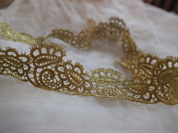 Metallic Gold Lace Trim With Retro Floral Pattern Gold Lace