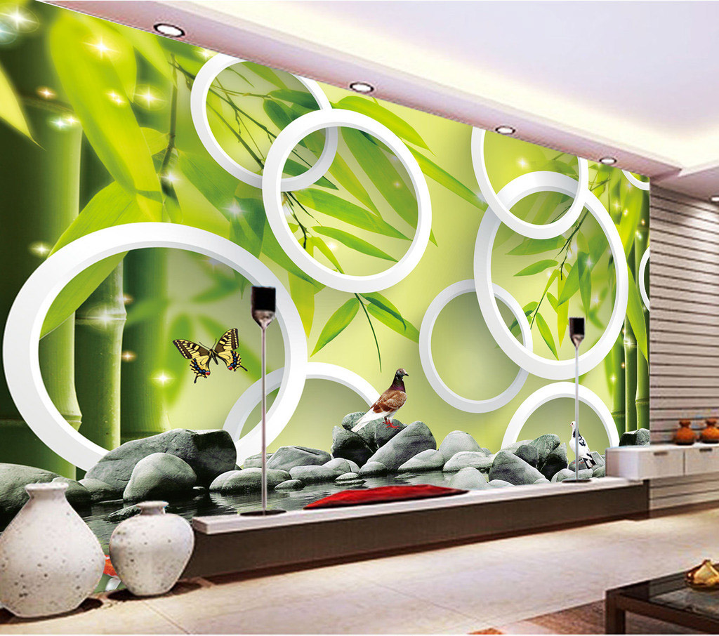 Fresh bamboo forest on bricks circle yoga spa salon Salon wallpaper