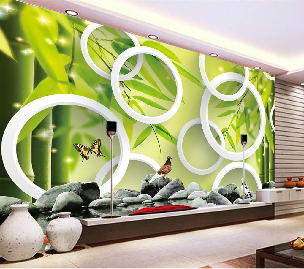 bamboo salon spa wall bathroom mural 3d yoga circle living forest natural paper decor modern bricks restaurant bedroom fresh pigeons