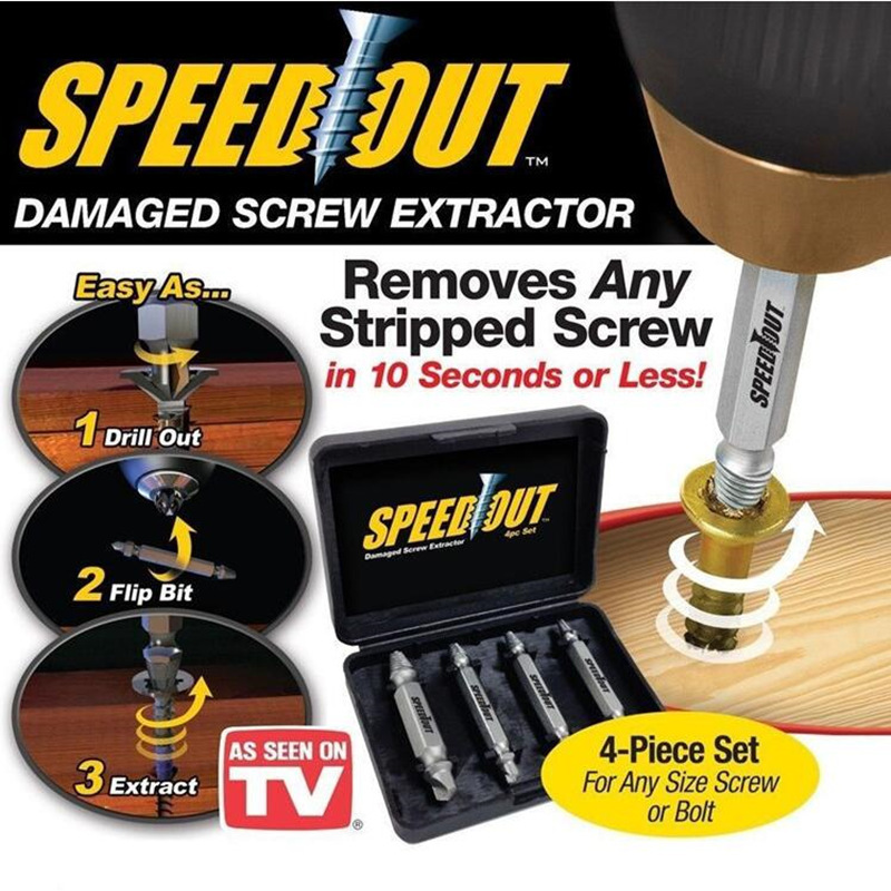 цена на 1 set = 4pcs Double Side Drill Out Damaged Screw bolt extractor tool Guide Drill bit Removal Broken Bolts Easy Out power tools