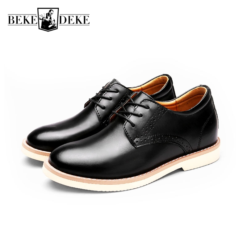 2018 New Lace Up Casual Shoes Flats Fashion Male Footwear Business Shoes Leather Shoes Men Chaussure Homme Hidden Heel 8CM Black 2016 new autumn winter man casual shoes sport male leisure chaussure laced up basket shoes for adults black