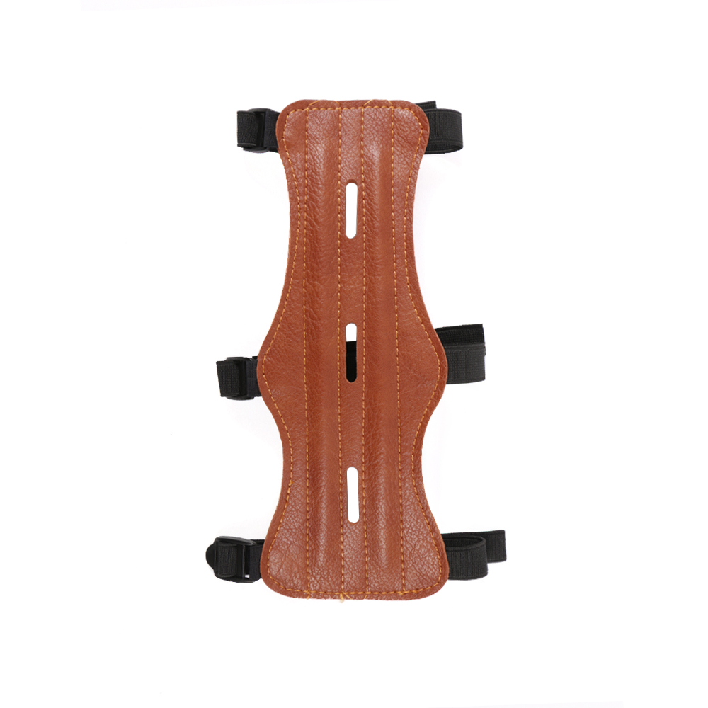ELOS-Pu Leather 3 Strap Shooting Target Archery Arm Guard Protection Safe Strap