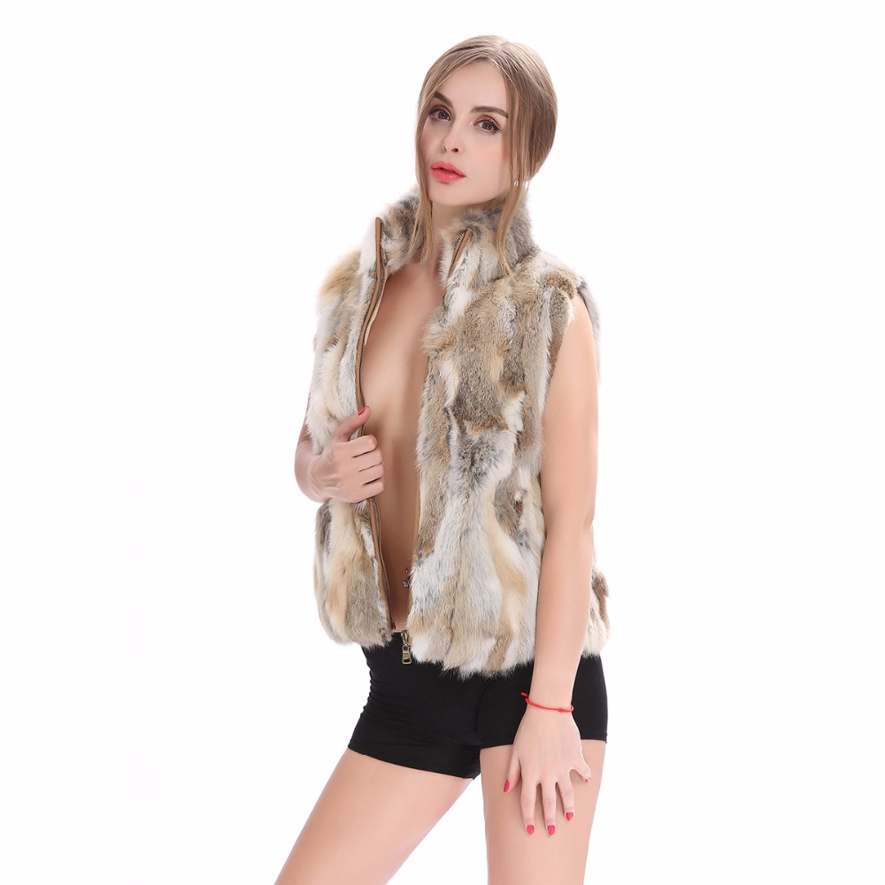 ZY88041  Autumn Lady Genuine Natural Fur Rabbit Fur Vest Mandarin Collar Winter Women Fur Waistcoat Female Outerwear Coats Gilet(China)