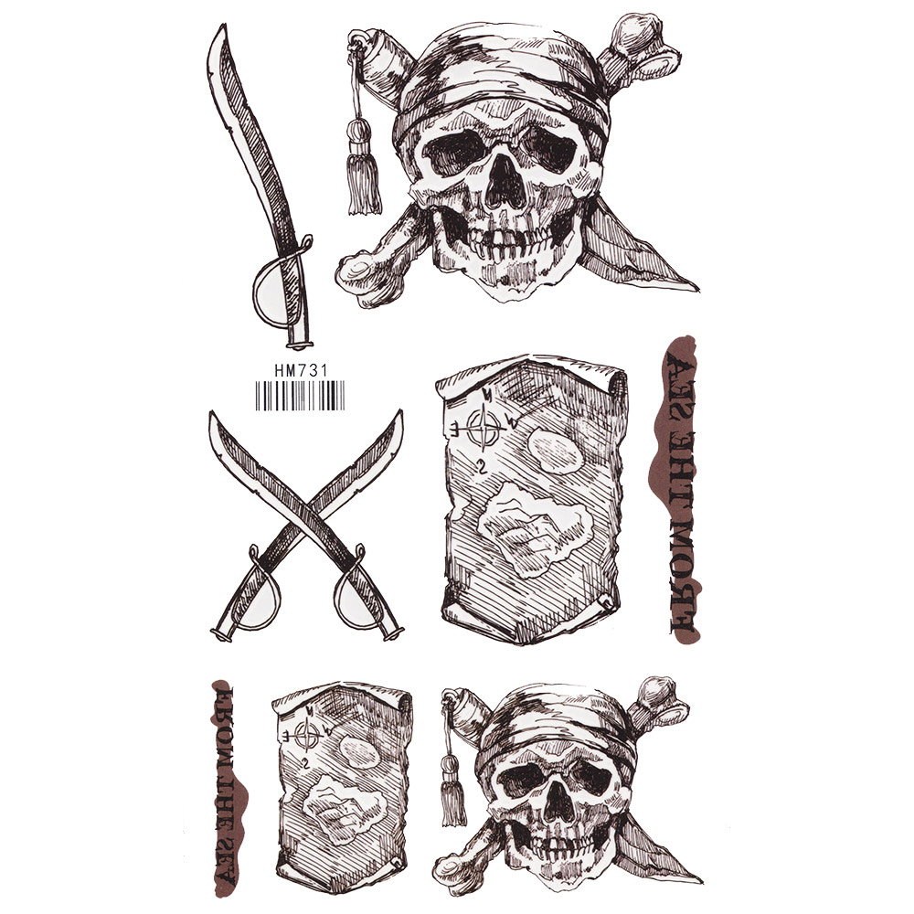 online shop king horse cool pirate skull rose waterproof tatoo