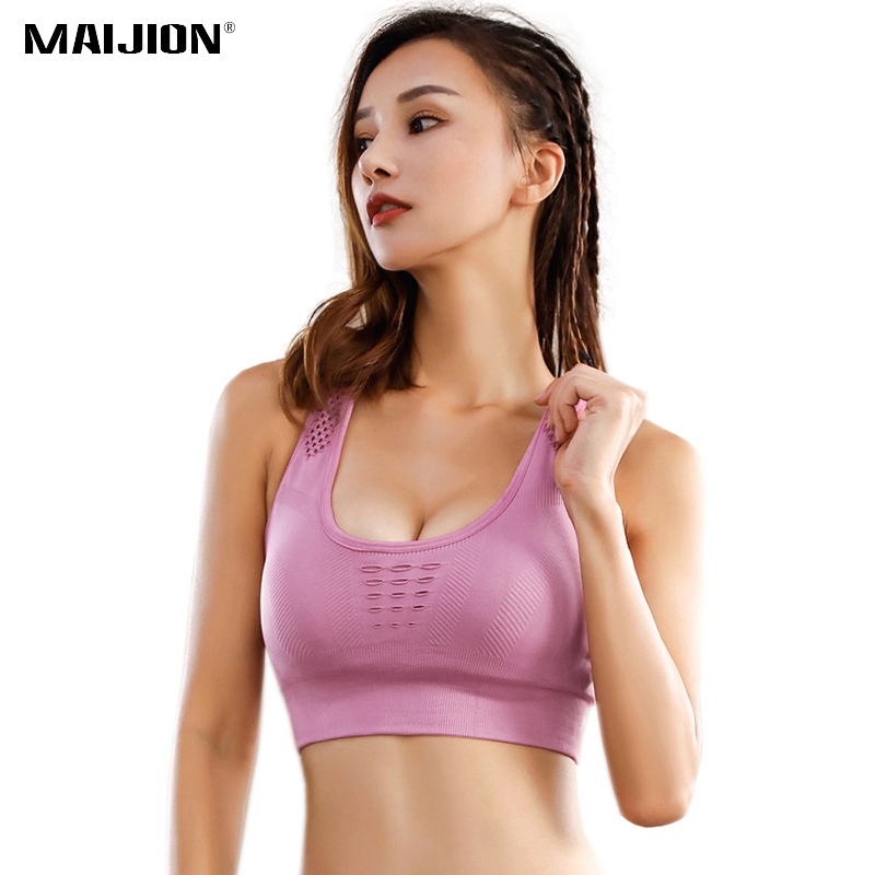 Women One Piece Sport Bra Breathable Fittness 1/2 Cup Yoga Bra with Pocket Clothing, Shoes & Accessories