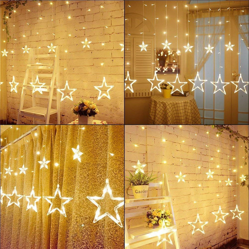Image 4 - Christmas Lights Outdoor Indoor 4.5M Star Curtain String Light 138 LED Lamp with 8 Flashing Modes Decoration for Wedding Home-in LED String from Lights & Lighting