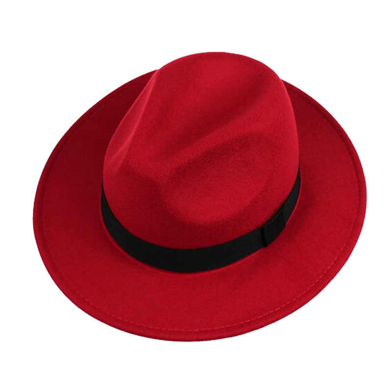 9f2008be0d9a1d ... FS Unisex Black Trilby Hats For Men Godfather Vintage Wide Brim Felt  Fedoras Hats Winter Man ...