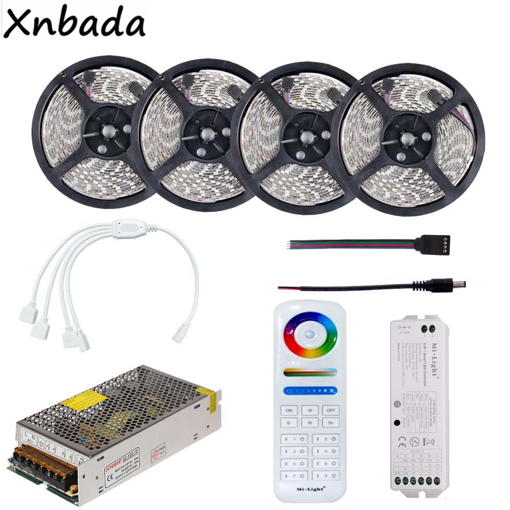 RGB Led Strip 2835SMD 60Leds/m Flexible Tape Light With Milight 8-Zone Remote RGB Led Controller DC12V Power Supply Driver Kit 20m rgb led strip 5050 flexible led light 50leds m 4pcs 4 zone controller led remote control 12v 15a power supply kit