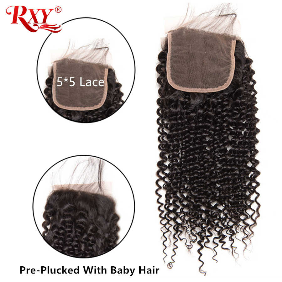 "Kinky Curly Hair 5x5 Lace Closure RXY Remy Peruvian Human Hair Curly Closure Pre Plucked With Baby Hair 8""-20"" Fast Shipping"