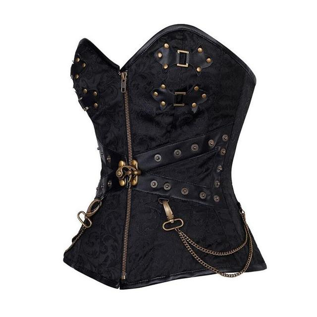 New 2017 Black Zipper Front Rivet Hardware Decoration Steampunk overbust corset waist  with Thong gothic lingerie LC5394