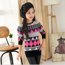Girl Slim Long Thick Pullover  Cardigan Sweater with Turtleneck and O-Neck Versatile Kid Winter and Autumn Warm Clothing
