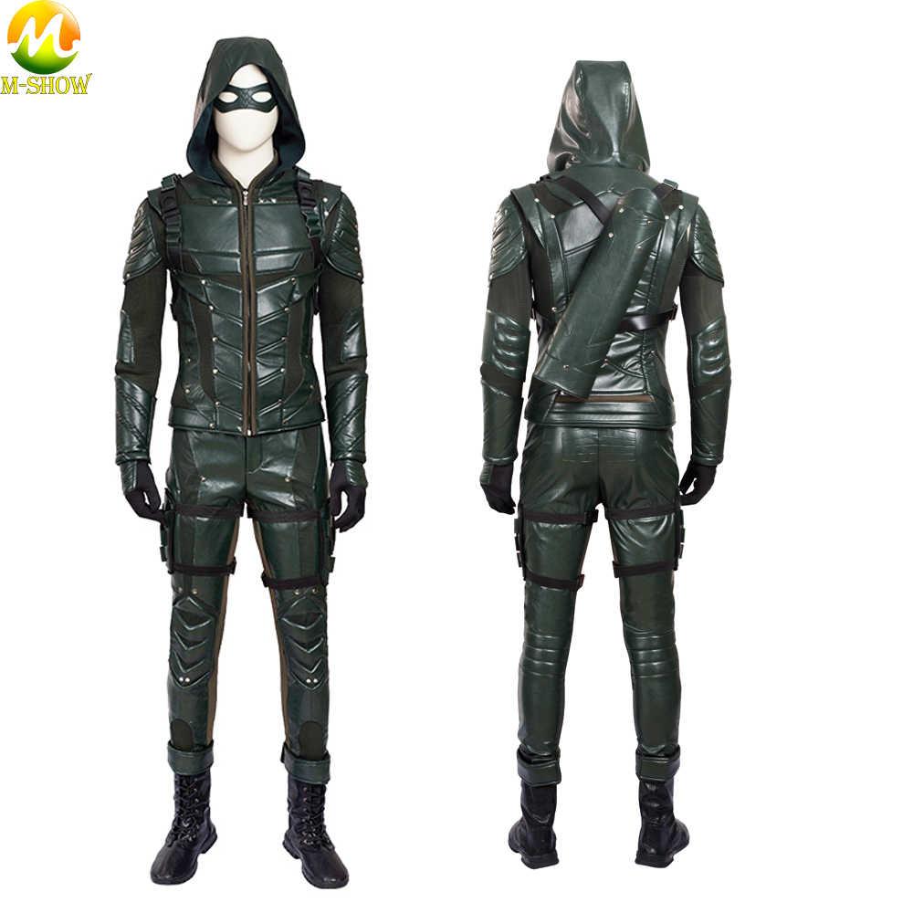 Disfraz De La Temporada 5 De Green Arrow Para Hombres Disfraz De Cosplay De La Reina De Las Flechas De Cuero Para Adultos Disfraces De Películas Y Tv Aliexpress