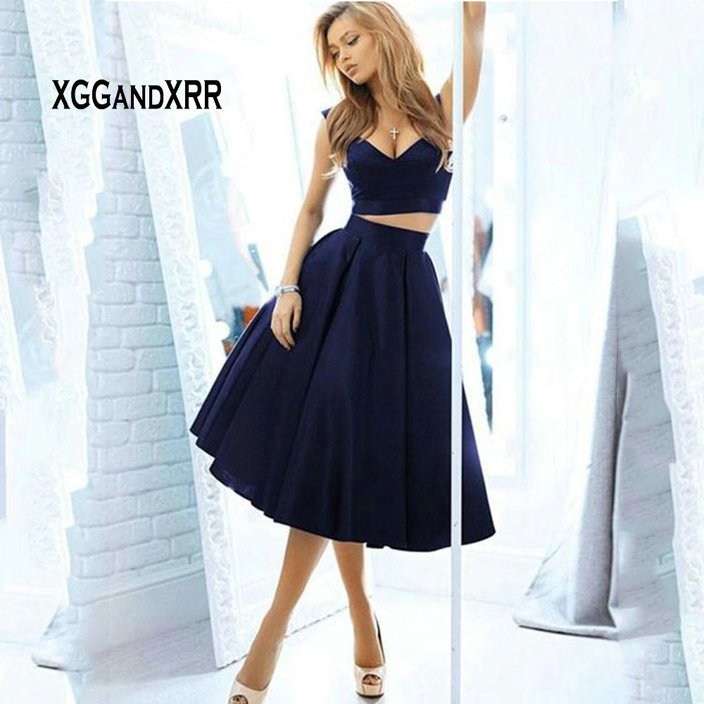 Abendkleider Navy Blue 2 Piece Short   Prom     Dresses   Cheap Satin Knee Length Homecoming   Dress   Imported Sexy Party Gala Gown 2019