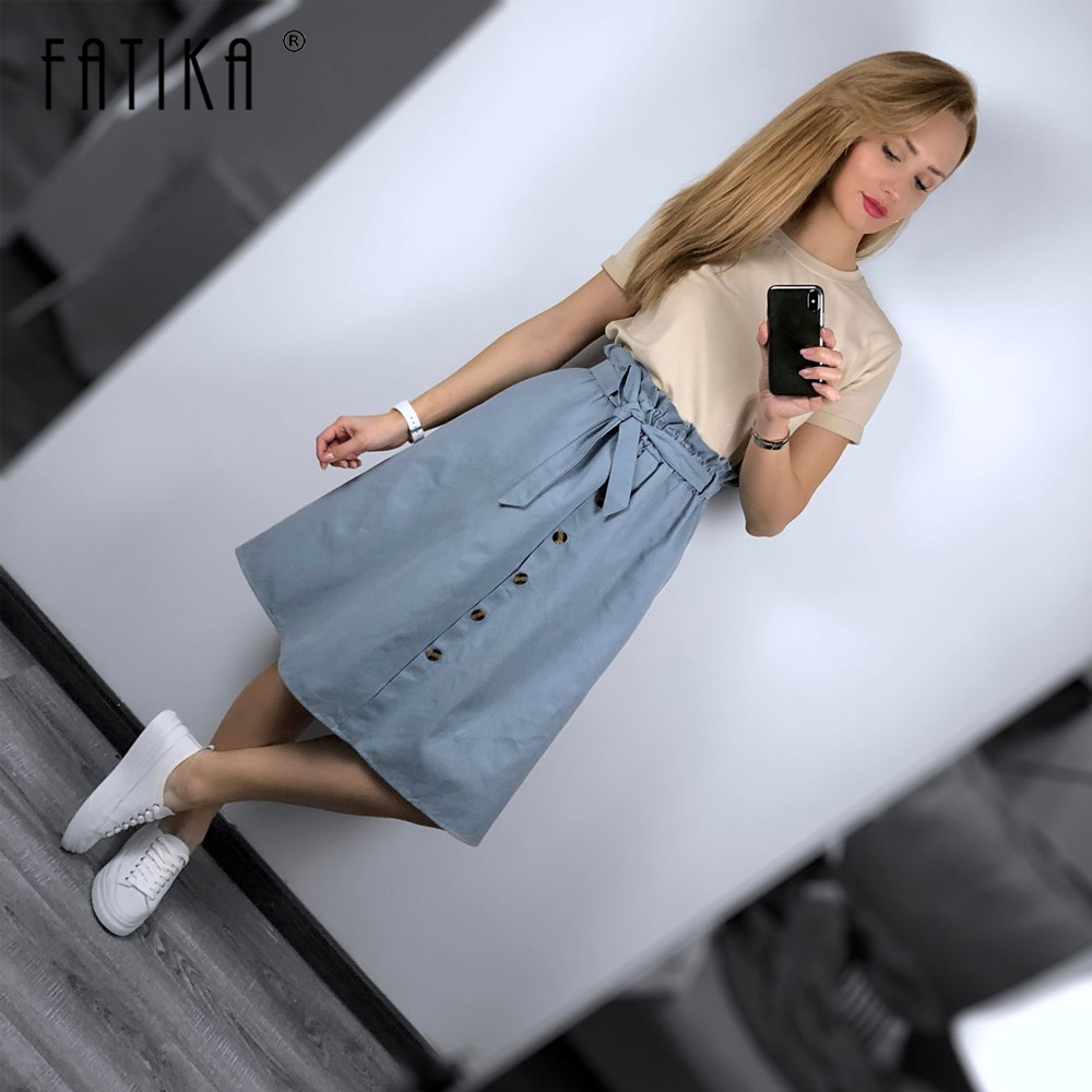 FATIKA Midi Skirts Sashes Bottoms A-Line Solid-Pockets Trendy High-Waist Casual Women