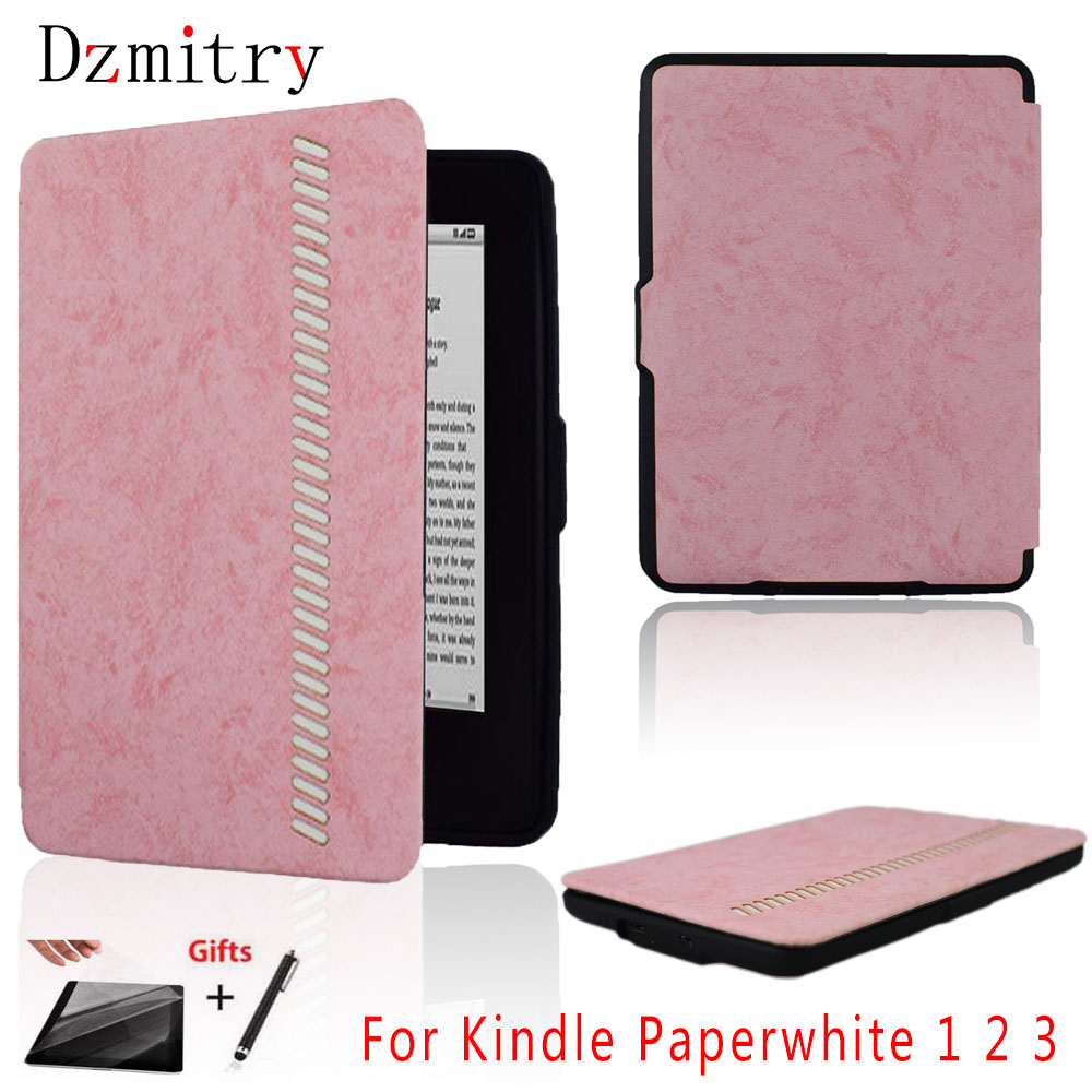 High Grade leather TPU Silicone ereader cover for Amazon Kindle Paperwhite 1 2 3 ( 2015 2013 2012) ebook Flip Case +Film+pen image