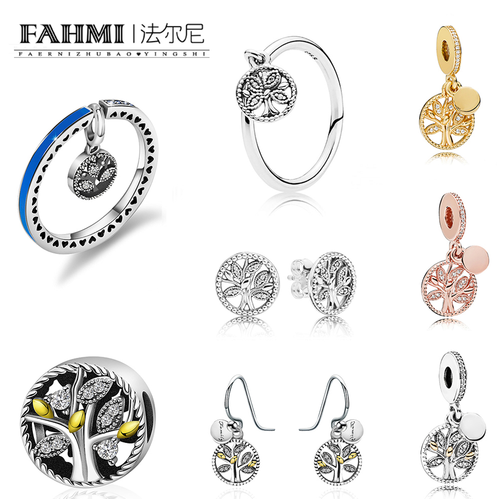 FAHMI 100% 925 Sterling Silver 2019 New FAMILY HERITAGE Trees of Life Rose Gold SHINE Beaded HERITAGE CHARM Ring Stud EarringsFAHMI 100% 925 Sterling Silver 2019 New FAMILY HERITAGE Trees of Life Rose Gold SHINE Beaded HERITAGE CHARM Ring Stud Earrings