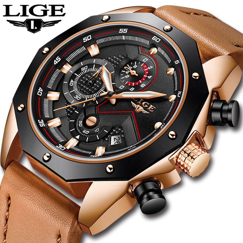 LIGE Mens Watches Top Brand Luxury Quartz Gold Watch Men Casual Leather Military Waterproof Sport Wrist Watch Relogio Masculino ноутбук hp 250 g6 core i5 7200u 8gb ssd256gb dvd rw 15 6 hd 1366x768 windows 10 professional 64 wifi bt cam