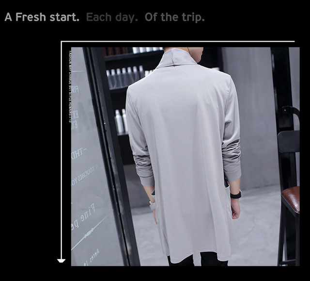 2018 windbreaker male Korean version of the new long coat Coat Slim student handsome cloak  thin coat