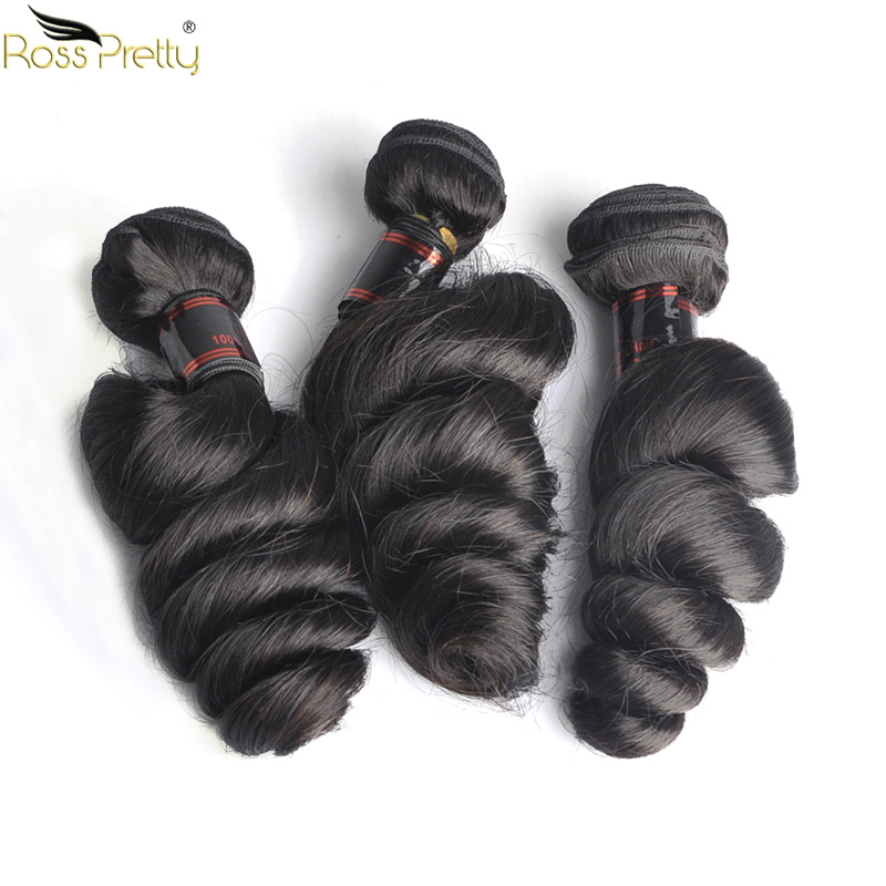 Loose Wave Hair Weave Bundles Natural Black Color Brazilian Human Hair Extension 8 To 30 Inch Remy Ross Pretty Hair 1/3/4pcs