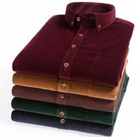 Spring Autumn Men Shirt High Quality Corduroy Long Sleeve Solid Comfort Soft Casual Brand Clothes Man
