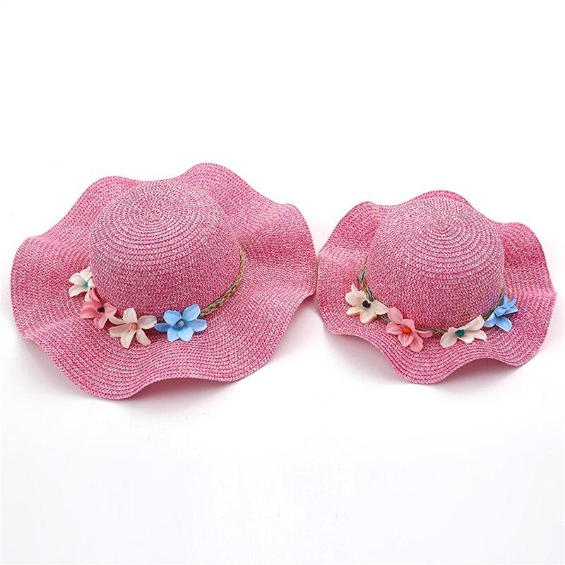Nowa moda Dziecko Dziewczęta i Mama Słoma Kwiaty Kapelusz - Odzież dla niemowląt - Zdjęcie 1