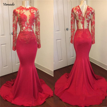 Vintage Long Sleeves Prom Dresses 2019 Mermaid Lace Appliques Satin African see through Evening Gowns