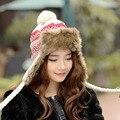 Llegó el nuevo Bombardero Sombreros gorras sombreros para las mujeres de invierno otoño dama de la moda de tejer sombrero/Gruesas orejeras de protección tapas de bombarderos