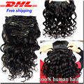 Loose Wave Clip In Human Hair Extensions 8A Peruvian Virgin Human Hair Brazilian Virgin Hair Clip In Extension 120g Free Ship