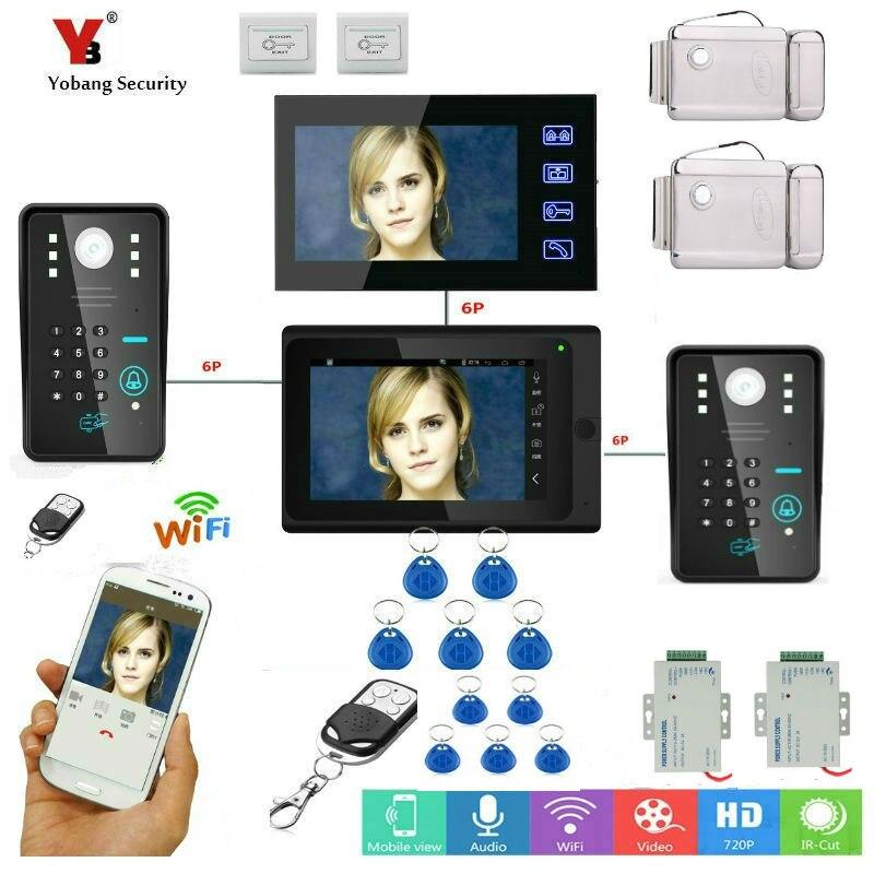 Yobang Security 2*7inch Video Record WIFI Video Doorbell With Indoor Monitor remote control RFID&APP Control Door Phone Door