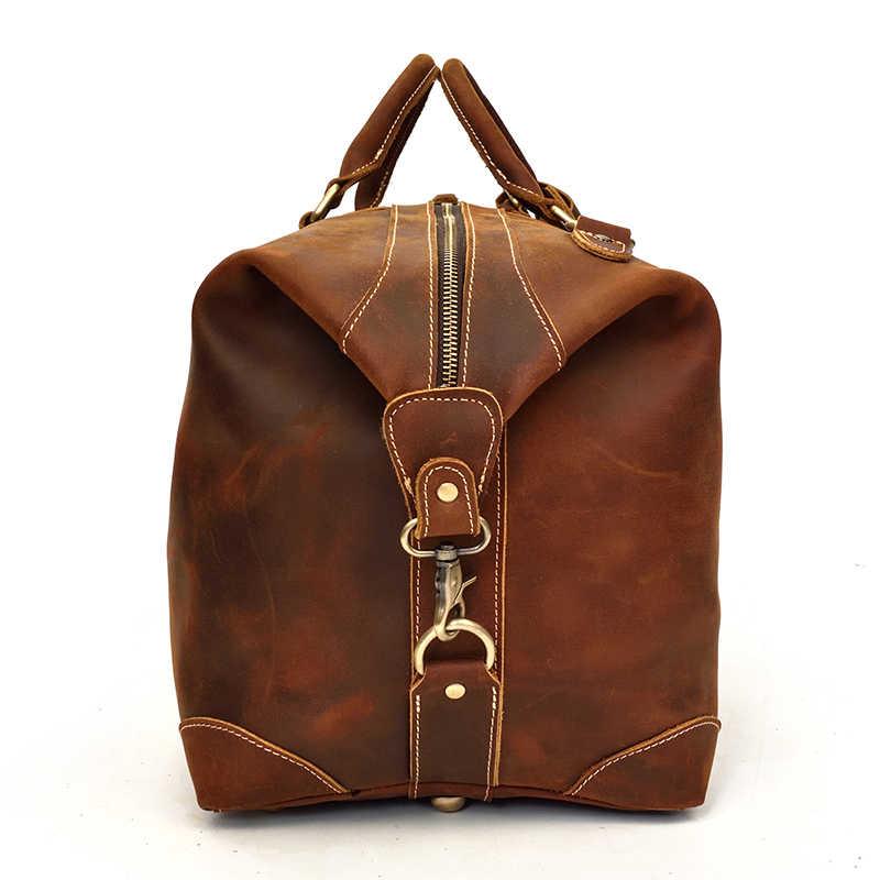 """Мужская сумка из натуральной кожи для путешествий 24 """"натуральная кожа дорожная сумка большая винтажная crazy horse кожаная на молнии вокруг выходных сумка-мессенджер"""