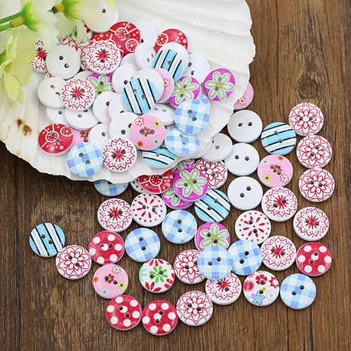 100Pcs Circular Button Random Mix Wooden Painting Buttons Craft Scrapbook Sewing Cardmaking DIY  7MAQ Drop Shipping