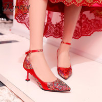 Rimocy wedding shoes woman high heels stiletto pumps ladies red silk embroider single shoes mujer 2019 Chinese style ethnic pump