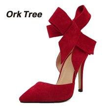 Орк дерева большой бант галстук Туфли-лодочки Для женщин Бабочка указал обувь на шпильках женские высокий каблук бантом желательно свадебные туфли 30