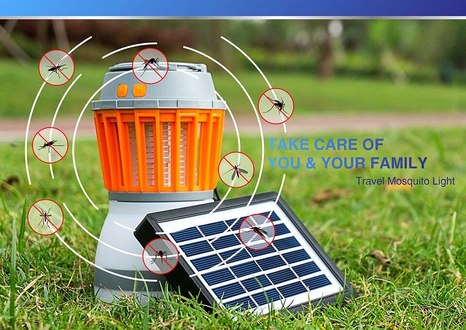 01Αδιάβροχο Ηλιακό Απωθητικό Κουνουπιών - Εντόμων & Φωτιστικό LED Camping - Δωματίου - Επαναφορτιζόμενο USB Solar Led Light Kill Pest 2 in 1
