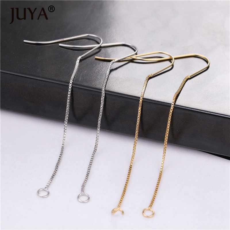 Metal de cobre chapeado real 18 k ouro longo corrente brinco ganchos artesanal diy brincos acessórios orelha fio jóias descobertas material