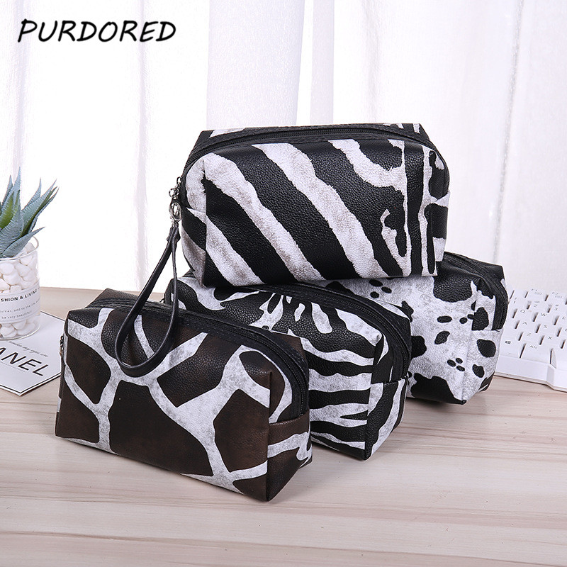 PURDORED 1 Pc  Leopard Cosmetic Bag Women Travel Makeup Bag  Waterproof Pouch Neceser Toiletry Organizer  Dropshipping