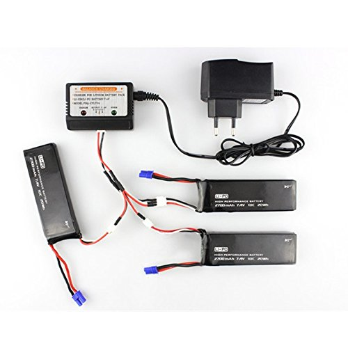 ФОТО EBOYU(TM) Hubsan H501S X4 FPV Racing Quadcopter Drone Parts 3 x Lipo Battery 2700mah 7.4V + 1 x Battery Charger