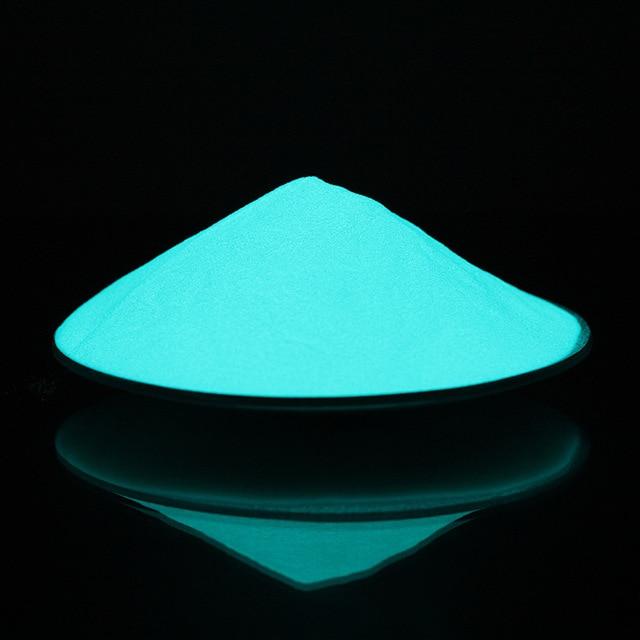 20 جرام/الحقيبة متوهجة الأخضر الأزرق ضوء مضيئة مسحوق الفوسفور الصباغ noctiitech مسحوق توهج في الظلام الغبار الصباغ مسمار بريق