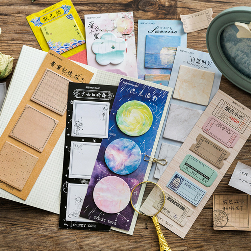 1 Pcs Lovely Starry Star Sticky Note and Memo Pad Nature Sunrise Post Decoration Sticker Note Marker Stationery School Supplies